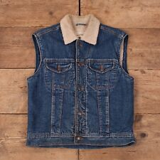 "Mens Vintage Wrangler Blue Denim Sleeveless Sherpa Jacket Vest Small 36"" R15426"