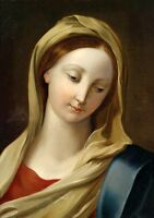 Wonderful Oil painting Madonna the Virgin Mary portrait with scarf handpainted @