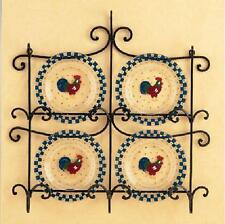 LENOX SUZANNE CLEE MORNING SUNSHINE ROOSTER DESSERT PLATES-SET 4 & DISPLAY RACK