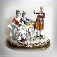 Dresden figural porcelain group on metal base - victorian scene - FREE SHIPPING