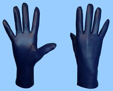 NEW WOMENS size 8 NAVY BLUE GENUINE LEATHER SILK LINED DRESS GLOVES