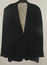 """New 100% Silk NAT NAST 50's Style BLACK 2 Button Patch Pockets 4"""" Notch Lapels-L"""