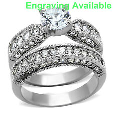 Engagement Ring Set Women's Size 5-10 Round Cut Aaa Cz Stainless Steel Wedding