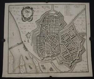 ZUTPHEN NETHERLANDS 1638 MATTHÄUS MERIAN SCARCE ANTIQUE COPPER ENGRAVED CITY MAP