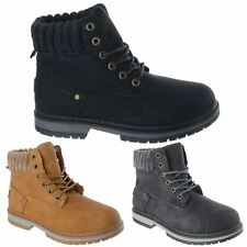 WOMENS FLEECE COLLAR LACE UP WORKER BIKER COMBAT LADIES ANKLE BOOTS SHOES SIZE