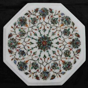 12 Inches Marble Side Table Top Shiny Gemstones Inlaid Coffee Table Floral Work