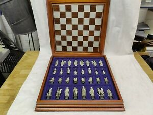 King Arthur, Merlin. Danbury Mint Camelot Chess Set With Board And Storage Box