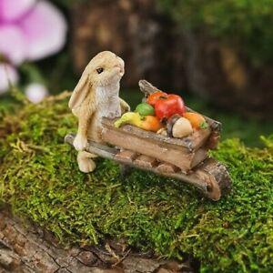 Rabbit Pushing Wheelbarrow with Harvest TO 4769 Miniature Fairy Garden