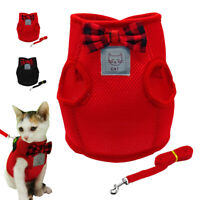 Pet Cat Walking Harness Vest Soft Padded Kitten Jacket for Chihuahua Pug Red SML
