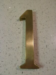 """Vintage Large 6"""" Solid Brass Door House Number 1 + Fixings"""