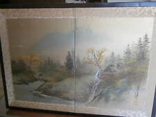 Lot of #2 Japanese privacy painted landscape panels-early 1900s-fancy-Brass fitg