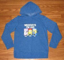 Despicable Me Minion Boys Size L Large Long Sleeve Sweatshirt Hoodie Blue EUC