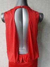 Langhem Red Backless Dress, Cascading over Elastic Waist, Back Split, Size 12