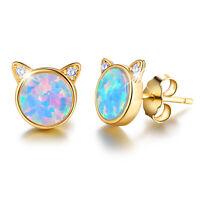 Cute Genuine 925 Sterling Silver Opal Zircon Cat Stud Earrings for Girls Jewelry