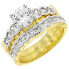 Size 11 Wedding Engagement Ring Set  2.25K CZ Center Stone 14K GPE