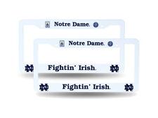Notre Dame Fighting Irish Raised Letter White Plastic License Plate Frame Set
