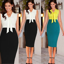 Women Colorblock Business Work Tunic Cocktail Party Stretch Bodycon Pencil Dress