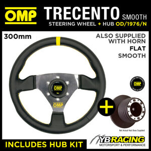 PEUGEOT 307 ALL 03- OMP SMOOTH LEATHER 300mm TRECENTO STEERING WHEEL & BOSS KIT