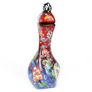 Handmade Ceramic Vase Traditional Turkish Sable Pattern Twirl Painted Home Decor