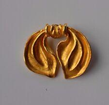 Vintage signed Le Jacquard Francais satin goldtone figural bow 3D lapel pin