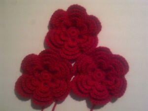 Crochet flowers x set of 3 x 4 layered in a choice of colour - 4ply