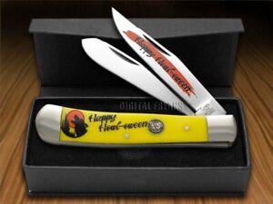 Hen & Rooster Halloween Trapper Knife Yellow Happy Howl-oween 312-Y/HOWL