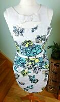 Karen Millen White Floral Style Dress With Belt Size 10UK