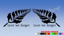 vinyl Decal Sticker lest we forget SOLDIER LEAF car van bike remembrance A437
