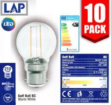 10 x LAP 2w LED Filament Golfball Light Bulb BC/B22 2700K Warm White *20 YR LIFE