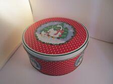 Christmas Goose Metal Cookie Tin Holly