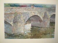 Dennis Lascelles b.1949 20th Century Watercolour BRIDGE MERTHYR MAWR NEAR FINE