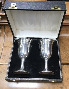 A Pair Of Cased Silver Hallmarked 1983 Goblets