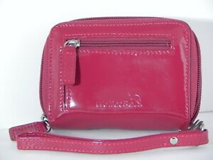 WalletBe  Women's Leather Cash Card Coin  Red Accordion ID Zipper Wallet