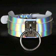 Lady's Punk Gothic Holographic Laser Collar Choker Wide PU Leather Necklace