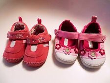 2 Pr LAURA ASHLEY Baby Girls Floral Flower Pink Leather Tennis Shoes 0-6 Months