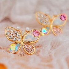 Girl Butterfly Plated Hollow Shiny Colorful cystal Simulated Pearl Stud Earring