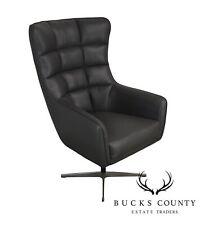Mid Century Modern Style Grey Leather Swivel Chrome Base Chair