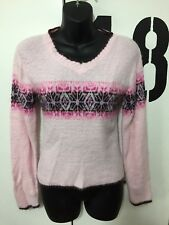 Juniors It's Our Time Light Pink Fuzzy Sweater With Design Size Medium