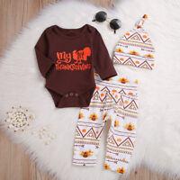 3PCS Newborn Baby Boys Girls Clothes Romper Jumpsuit+Long Pants+Hat Outfits Set