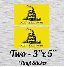 "Dont Tread On Me Flag -B Bumper Sticker - Vinyl Sticker 3"" X 5"" Set of 2"