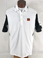 Bengals NFL Reebok White Polo Shirt Play Dry Short Sleeve Embroidered Mens M