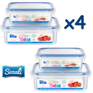 4 x Plastic Food Storage Containers Airtight Clip Lock Lock Kitchen 500 + 240ml