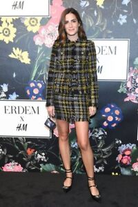New ERDEM x H&M 2 Pc SUIT Wool Blend JACKET SKIRT Black Gold Tweed 4 SHIPS TODAY