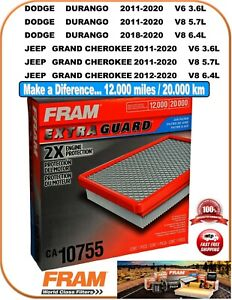 FRAM CA10755 Air Filter-Extra Guard Fit 11-2020 Dodge DURANGO / Jeep G. CHEROKEE