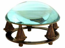 Magnifying Glass Paperweight Brass Antique Vintage Style Table Top Paper Weight