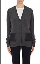 Barneys Cashmere Cardigan Sweater Hidden Buttons Leather Pockets Size M