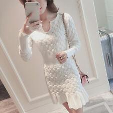 new Autumn winter Korean elegant v-neck fashion fishtail knitting sweater dress