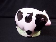 China egg cup Black & white cow standing on grass Knobler 1987