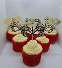 Masquerade Masks Halloween Cupcake Toppers x 6 Cup Cake Toppers
