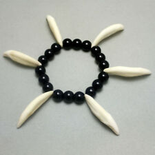 Jungle accessories Real Wolf teeth Pendant Black bead agate Bracelets Tribe